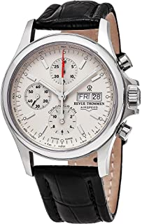 Revue Thommen Airspeed Heritage - Beige Dial Chronograph Day Date Revue Thommen Watch Mens - Brown Leather Band Swiss Revue Thommen Automatic Watch 17081.6532