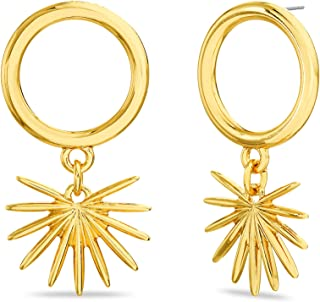 Steve Madden Yellow Gold Plated Sun Circle Dangle Earrings for Women