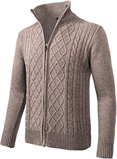 Mens Casual Stand Collar Cable Knitted Zip-up Cardigan Sweater Jacket