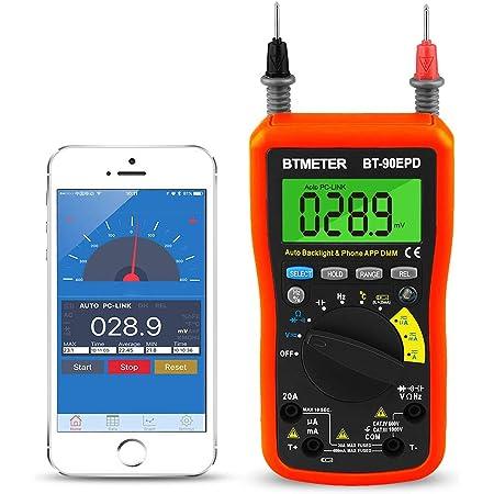 Btmeter Digital Multimeter Multimeter Bluetooth Bt 90epd Advanced Multimeter Mit 4000 Counts Diodentest Automatische Bereichsauswahl Temperaturmessung Hintergrundbeleuchtung Batterietest Orange Baumarkt