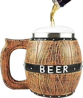 Chope à Bière en Bois, minghaoyuan Tasse Bière en Bois Naturel Rétro Grande Capacité 580 ML, Tonneaux en Bois en Acier Ino...