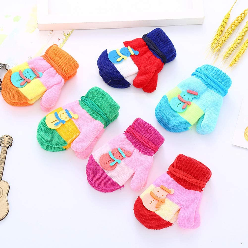CHUANGLI 6 Pairs Toddler Warm Winter Full Finger Gloves Thick Stretch Mittens for Baby Girls Boy 1-4 Years