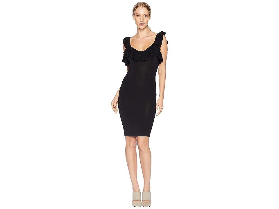 Bebe Ruffle Neck Zip Front Dress (Black) Women