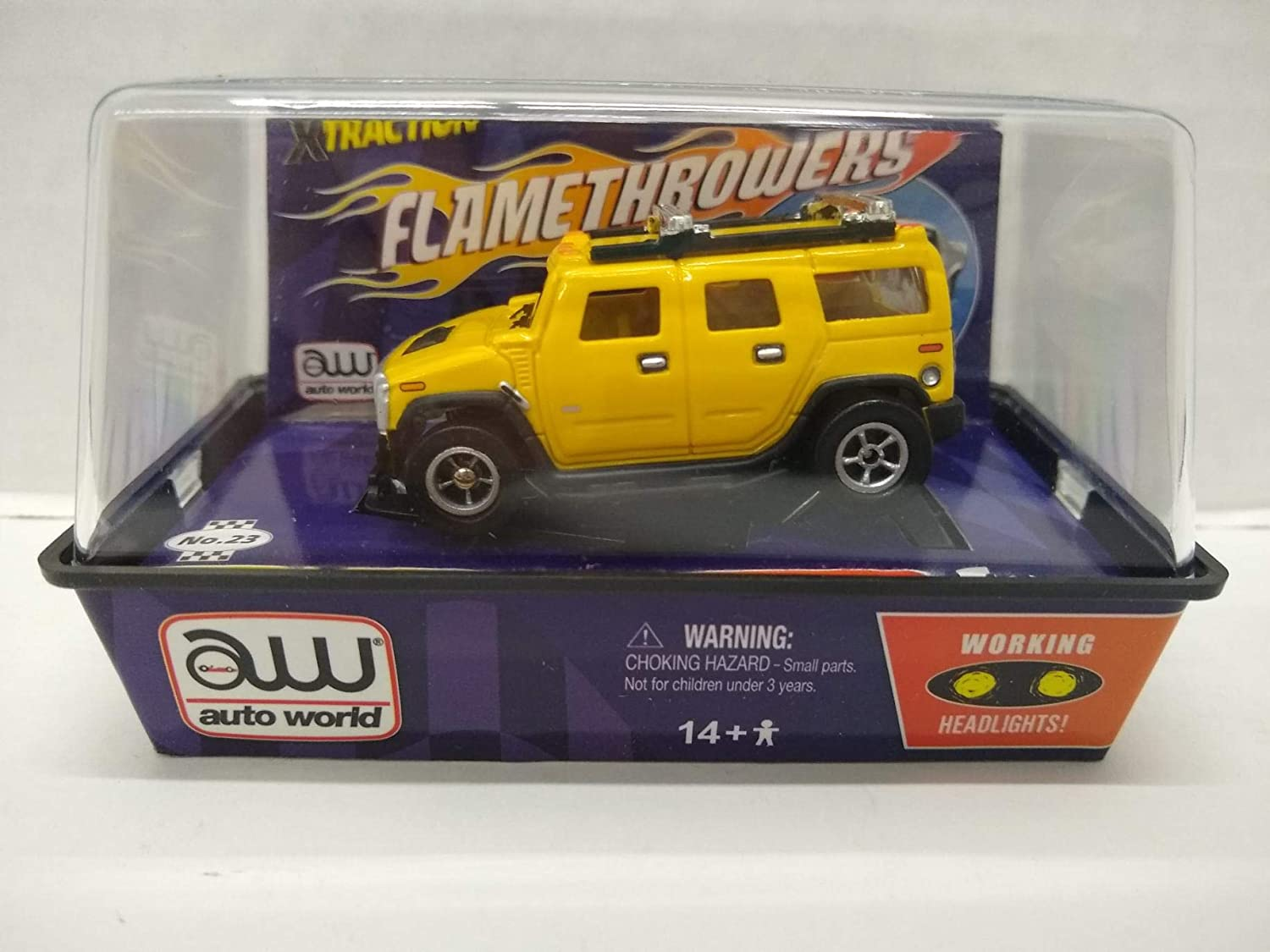 Auto World SC122 Hummer H2 HO Scale Electric Slot Car - Yellow