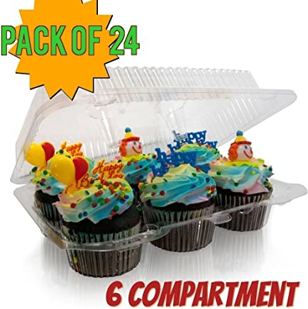 featured product 6 compartment Cupcake boxes,  Clear Cupcake and Muffin Containers with Hinged Lid,  Strong and Sturdy,  BPA Free, 6 Cavity Cupcake Container ,  Cupcake boxes (24,  6 -Compartment Cupcake Containers)