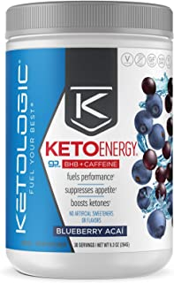 KetoLogic BHB Exogenous Ketones Powder with Caffeine (30 Servings) - Keto Pre-Workout, Boosts Ketosis, Energy & Focus - Su...