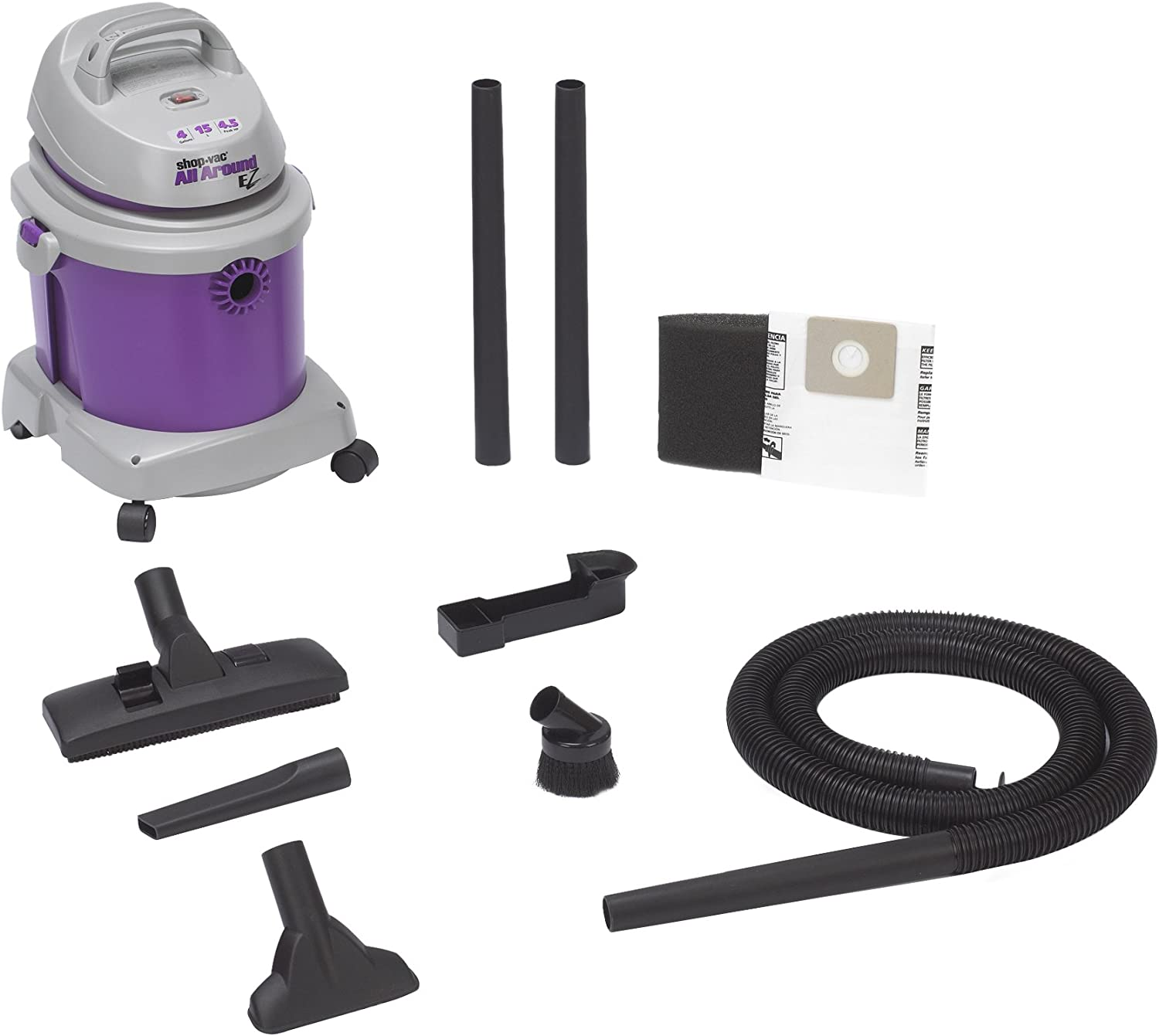 Shop-Vac 5895400 4.5-Peak Horsepower AllAround EZ Series Wet Dry Vacuum 4-Gallon With Onboard Tool & Cord Storage & Dual Filtration, Uses Type LL Filter Bag & Type R Foam Sleeve