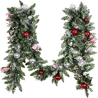 Home Accents Holiday 12 ft. Battery Operated Frosted Mercury Artificial Garland with 100 Clear LED Lights