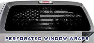 ITI Global Designs DARK PRIDE 005 WINDOW WRAP : Distressed American Flag : Black Grey : Truck Car Rear Decal Sticker