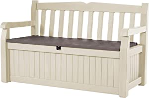 Keter -  Banco arcón exterior Eden Garden Bench, Capacidad 265 litros, Color marrón y beige