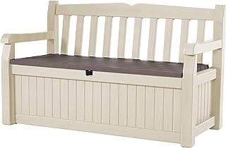 comprar comparacion Keter Eden Garden Bench - Banco Arcón Exterior, Capacidad 265 L, Color Marrón y Beige