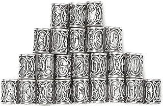 24PCS Viking Norse Beard Ring Futhark Runes Hair Beard Beads Braiding Bead for Jewelry Making Pendants Bracelet Necklace