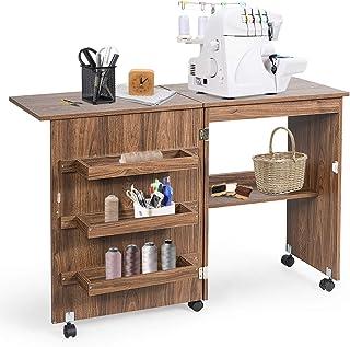 GIANTEX Table de couture pliable pour machine à coudre avec roulettes, table multifonction pour salon, bureau, chambre à c...