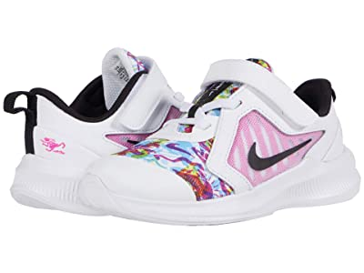 Nike Kids Downshifter 10 Fable (Infant/Toddler) (White/Black/Fire Pink/Blue Fury) Girl