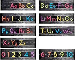 Alphabet Bulletin Set, Manuscript Alphabet Bulletin Board Posters, Classroom, and Playroom Wall DecorBorder for Students, Total 9 Posters Including Alphabets and Numbers, 21 x 6 inches