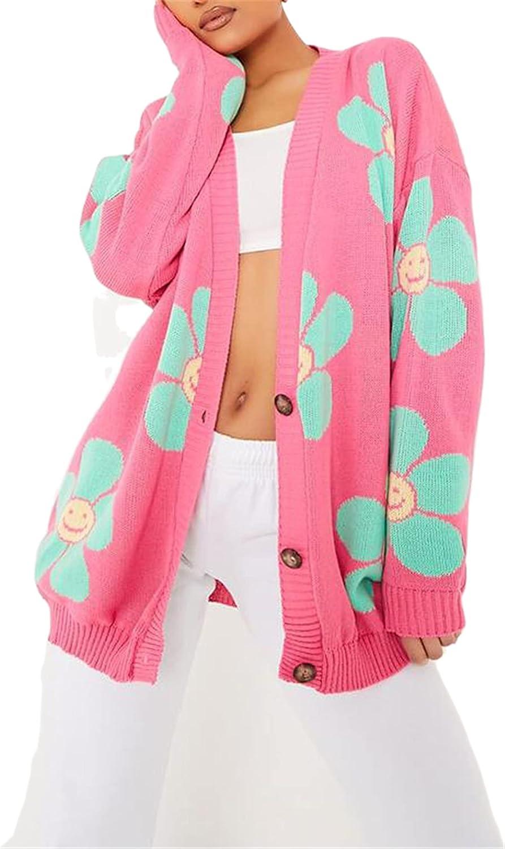 Y2K Floral Knit Crop Cardigan for Women Long Sleeves Botton Down V Neck Sweater Vintage Knitwear Cardigan Coat