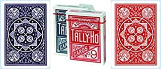Tally-Ho No.9 Fan Back Playing Cards 12 Deck Bundle (6 RED & 6 BLUE)