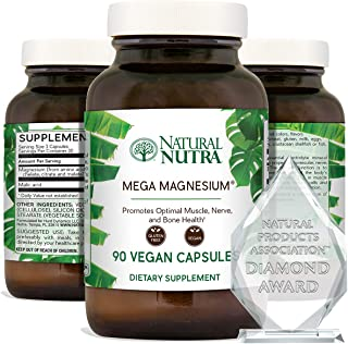Natural Nutra Mega Magnesium® Supplement from Amino Acid Malate, Chelate, Citrate, Malic Acid, Maintain Blo...