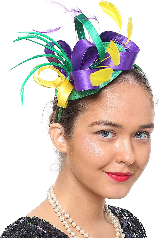 Fascinators for Women Fashion Cocktail Tea Party Headband Headwaer Hat Kentucky Derby Wedding Mesh Feathers Hair Clip