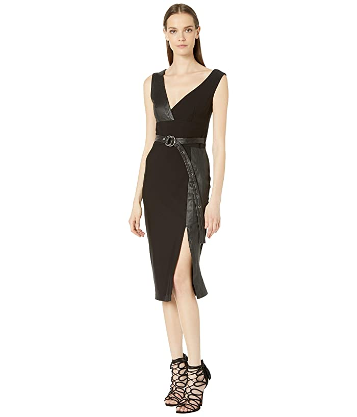 YIGAL AZROUEL Leather Combo MS Dress (Black) Women's Dress
