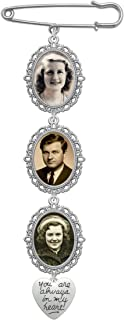 Wedding Bouquet Photo Charm Triple Lacy Oval Frame Bridal Charm Walk Down The Aisle You are Always in My Heart Easy to Make Parents Grandparents