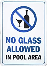 Monifith Swimming Pool Safety Sign No Glass Allowed in Pool Area Pool Rules Signs 8X12 Inch