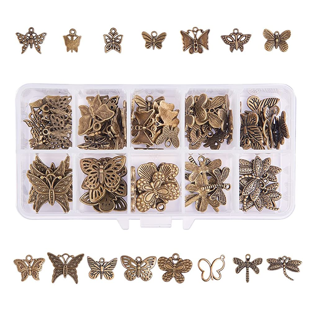 PH PandaHall 90pcs 15 Style Antique Bronze Tibetan Alloy Butterfly Dragonfly Charms Animal Pendants Beads Charms for DIY Bracelet Necklace Jewelry Making