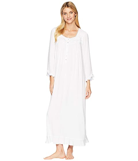 Eileen West Cotton Modal Ballet Long Sleeve Nightgown, WHITE