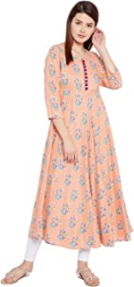 Tissu Women's Floral Printed Flared Kurta with Front Buttons