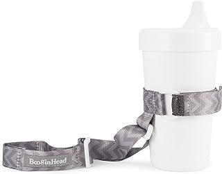 BooginHead Baby SippiGrip Sippy Cup, Bottle Holder, High Chair, Car Seat, Universal Strap, Go Go Chevron, Girl, Boy, Gray Chevron