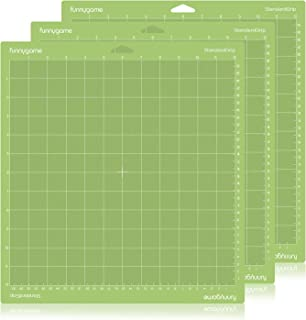 Funnygame 12x12 Standard Grip Cutting Mat for Cricut Maker/Explore Air 2/Air/One(3 Pack), Adhesive Green Cutting Mat with Non-Slip Flexible Square Gridded Cut Mat for Crafts