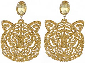 Womens Drop Dangle Earrings Resin Tiger Head Pendient Crystal Stone Statement Earrings for Woman New Trendy Drop Earrings Brincos Oorbellen