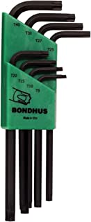 Bondhus 31834 Long Length Star-Tipped L-Wrenches, 8 Piece Set, sizes T9-T40