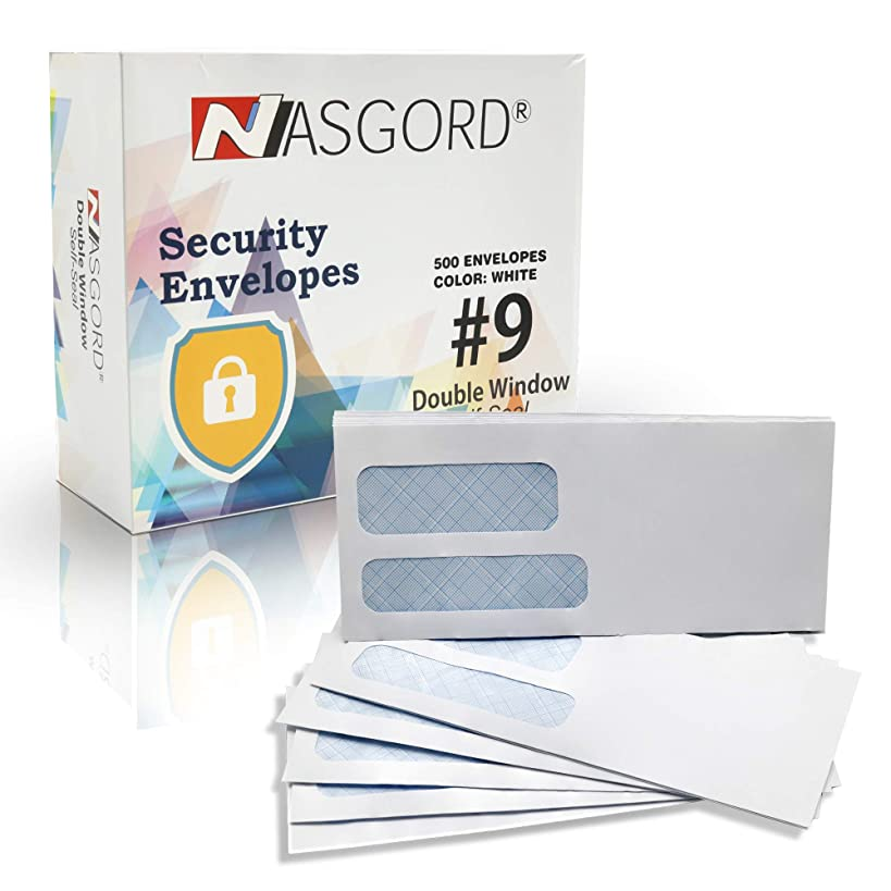 Nasgord 500#9 Double Window Self Seal Security Envelopes - 26lb Paper Designed for Documents, Invoices & Statements with Tinted Security - Size 3 7/8