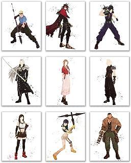 Watercolor Final Fantasy VII (7) Remake Prints - Set of 9 (8x10 Inches) Cloud Strife - Barret Wallace - Aerith Gainsborough - Tifa Lockhart - CID - Yuffie - Vincent Valentine - Zack Fair - Sephiroth