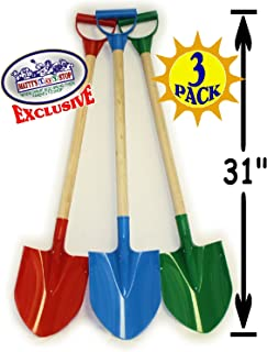 "Matty`s Toy Stop 31"" Heavy Duty Wooden Kids Sand Shovels with Plastic Spade & Handle (Red, Blue & Green) Complete Gift Set Bundle - 3 Pack"