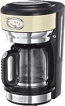 Russell Hobbs Kaffemaschine Retro creme, bis 10 Tassen, 1,25l Glaskanne, Brüh- & Warmhalteanzeige im Retrodesign, Abschaltautomatik, Warmhalteplatte, 1000W, Vintage Filterkaffeemaschine 21702-56