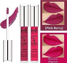 MI FASHION Liquid Matte Lipstick Pink Berry Berry,Magenta 3ml each (Combo of 2)