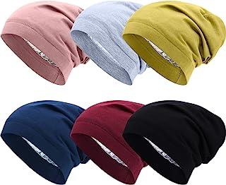 SATINIOR 6 Pieces Satin Lined Sleep Slouchy Cap, Hair Cap for Sleeping, Girl Headwear for Frizzy Curly Hair Women