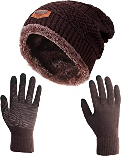2a63b584cab HINDAWI Winter Slouchy Beanie Gloves for Women Knit Hats Skull Caps Touch  Screen