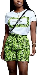 Women's 2 Piece Outfits - Snakeskin Letter Print Short/Long Sleeve Round Neck Top + Snake Skin Tie Waist Shorts Set Tracksuit