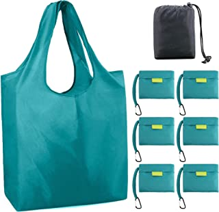 Teal-Foldable-Shopping-Reusable-Bags-Grocery X Large 50LBS Shopper Tote Bag Folded into Attached Pouch in Bulk 6 Pack Ripstop Cloth Machine Washable Sturdy Lightweight