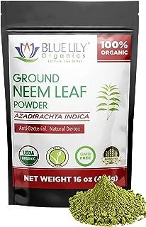 Blue Lily Organics Neem Leaf Powder | USDA Certified Organic | Azadirachta Indica | Vegan, Non-GMO & Gluten Free | Great for Improving Immunity, Skin, Hair & Digestive Functions | Shade Dried | 1 Lb