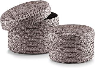 Zeller 14122 Lot de 2 corbeilles rondes avec couvercle en polypropylène, gris, 16 x 10 cm; 17 x 12 cm