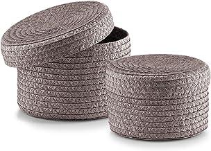 Zeller 14122 zestaw koszyków z pokrywką, 2-częściowy, okrągły, PP, ø 16 x 10, ø 17 x 12 cm, szary