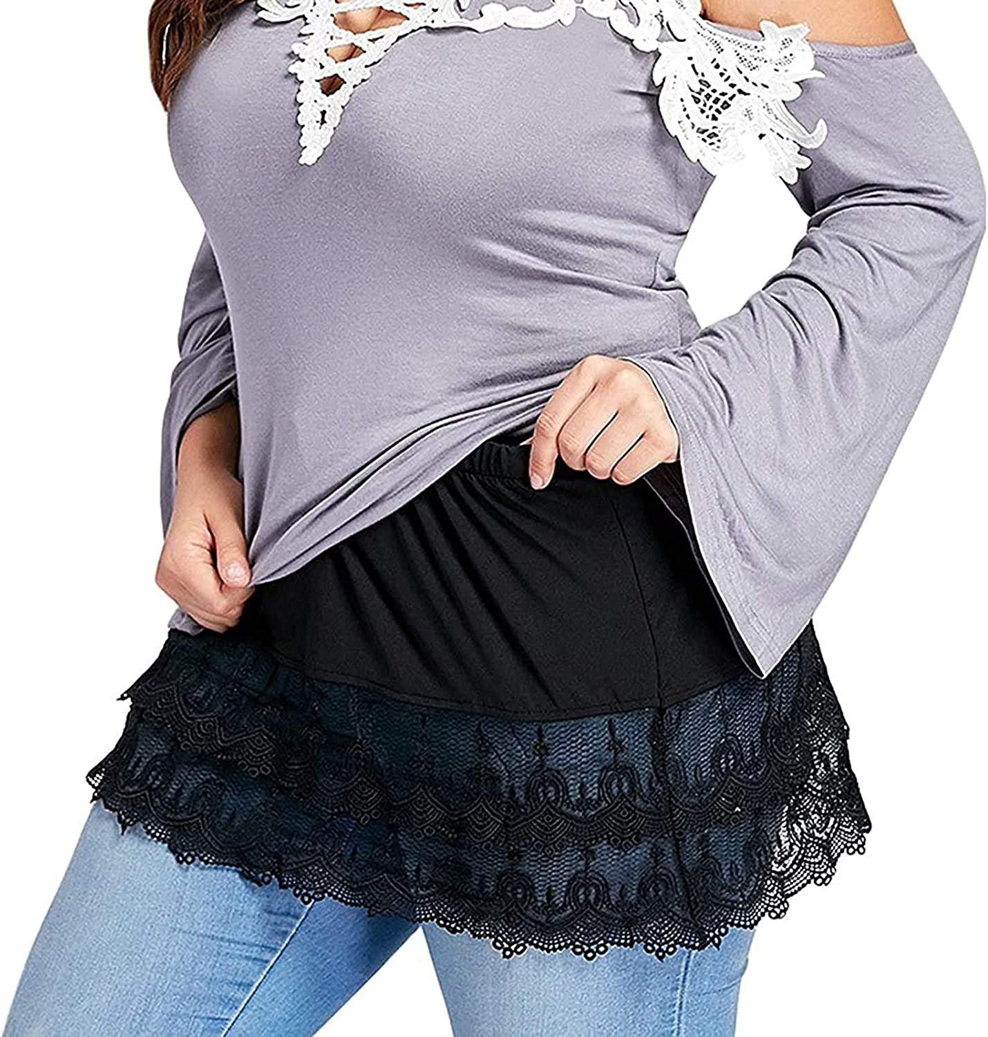 Women 's Shirt Extender Skirt At the price of surprise Adjustable Fake Layered Lower Cheap SALE Start Top