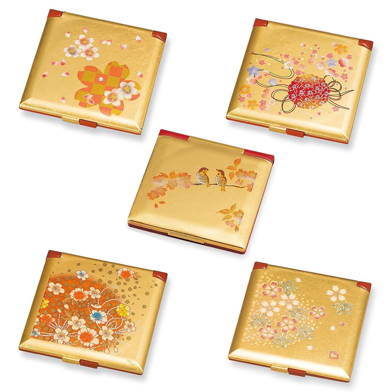 専門送金本物の手鏡 ハンドミラー 和風 和柄 箔工芸 角コンパクトミラー(京てまり)