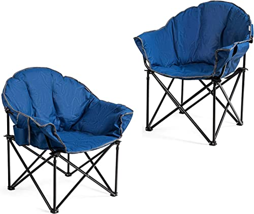 discount Giantex Set of 2 Portable Camping Chair, Moon 2021 Saucer Chair, Outdoor Folding popular Chair with Soft Padded Seat, Lawn Chair with Cup Holder and Carry Bag (Navy) online