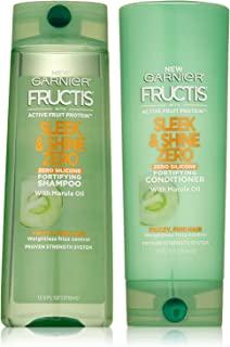 Garnier Fructis Sleek & Shine Zero - Fortifying Shampoo & Conditioner Set With Marula Oil - Zero Silicone - 12.5 FL OZ (Sh...