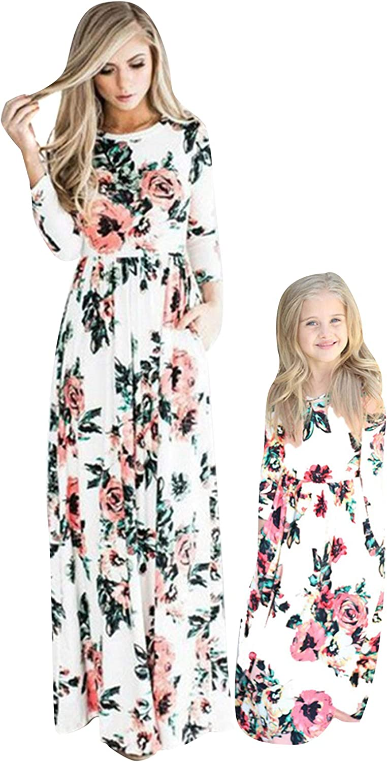 OMZIN Maxi Dress Family Matching Clothes Mommy and Me Matching Long Maxi Pockets Dress White Floral L